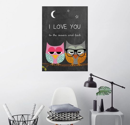 Posterlounge Wandbild - GreenNest »Eulen - I love you to the moon and back«