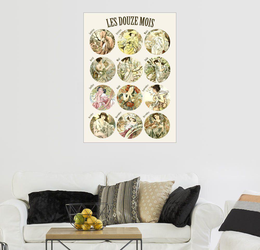 Posterlounge Wandbild - Alfons Mucha »Les Douze Mois - 12 Monate des Jahres«