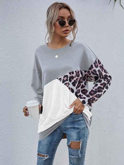 enflame Longpullover »3736« Damen Long Sweat Shirt Pullover Oversized Leo Print Longsleeve Oberteil