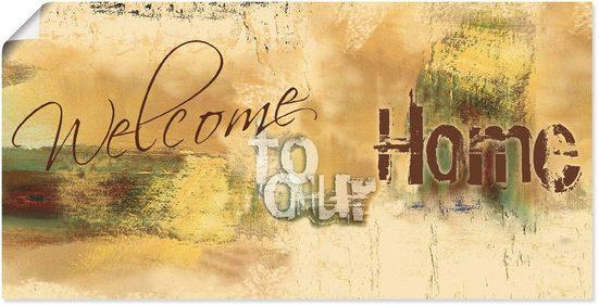 Artland Wandbild »Willkommen in unserem Zuhause«, Sprüche & Texte (1 Stück), in vielen Größen & Produktarten - Alubild / Outdoorbild für den Außenbereich, Leinwandbild, Poster, Wandaufkleber / Wandtattoo auch für Badezimmer geeignet