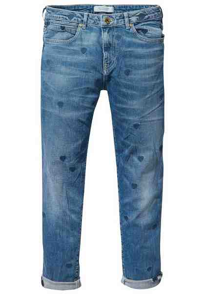Scotch & Soda Boyfriend-Jeans »Petit Ami«, mit Allover-Herzchen-Stickerei