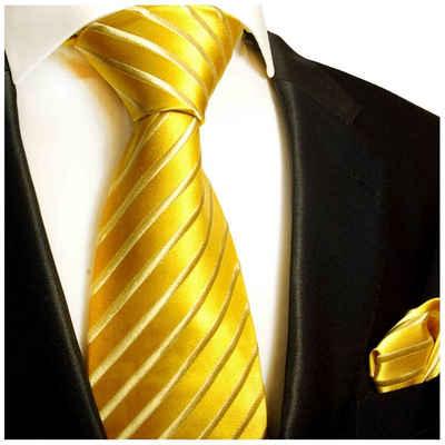 Paul Malone Krawatte »Seidenkrawatte und Tuch Herren Schlips modern uni gestreift 100% Seide« (Set, 2-St., Krawatte mit Einstecktuch) Breit (8cm), gold 681
