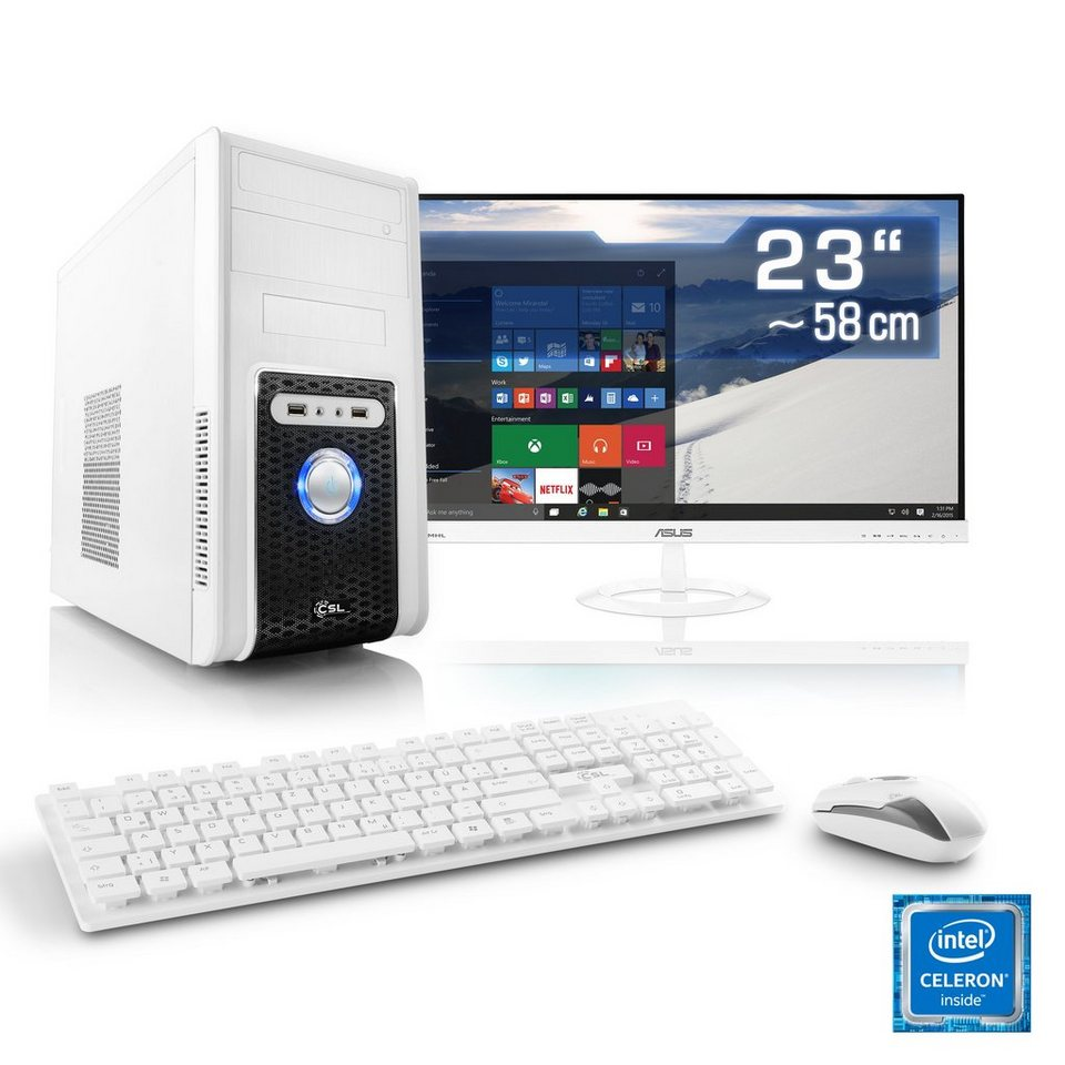 Csl Office Pc Set Intel Quadcore Intel Hd 4 Gb Ram 23 Tft