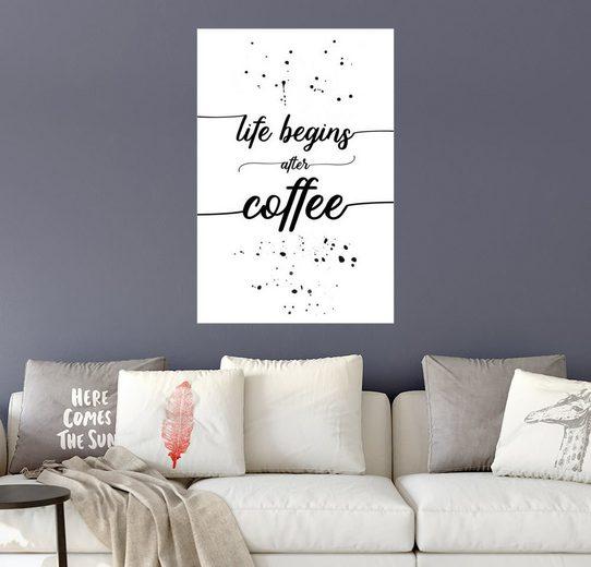 Posterlounge Wandbild - Melanie Viola »TEXT ART Life begins after coffee«