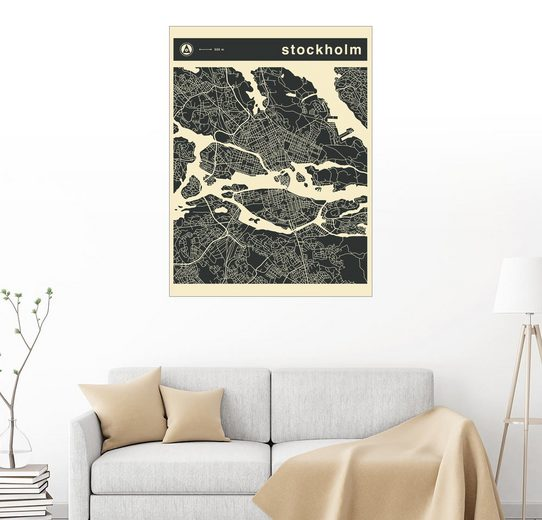 Posterlounge Wandbild - Jazzberry Blue »stockholm Stadtplan«