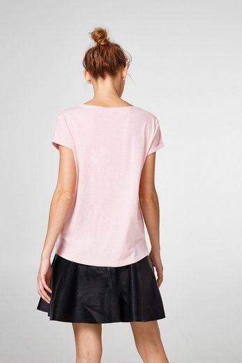 ESPRIT Slub-Shirt mit Samtprint, 100% Baumwolle