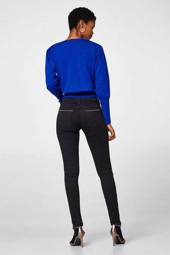 ESPRIT COLLECTION Schwarze Stretch-Jeans mit Ketten-Details