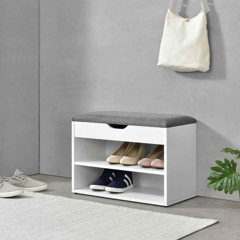 en.casa Schuhbank, Schuhbank Gentofte 60x30x46cm Schuhschrank mit 3 Ablagefächern Schuhablage für 4 Paar Schuhe Sitzbank Weiß/Grau