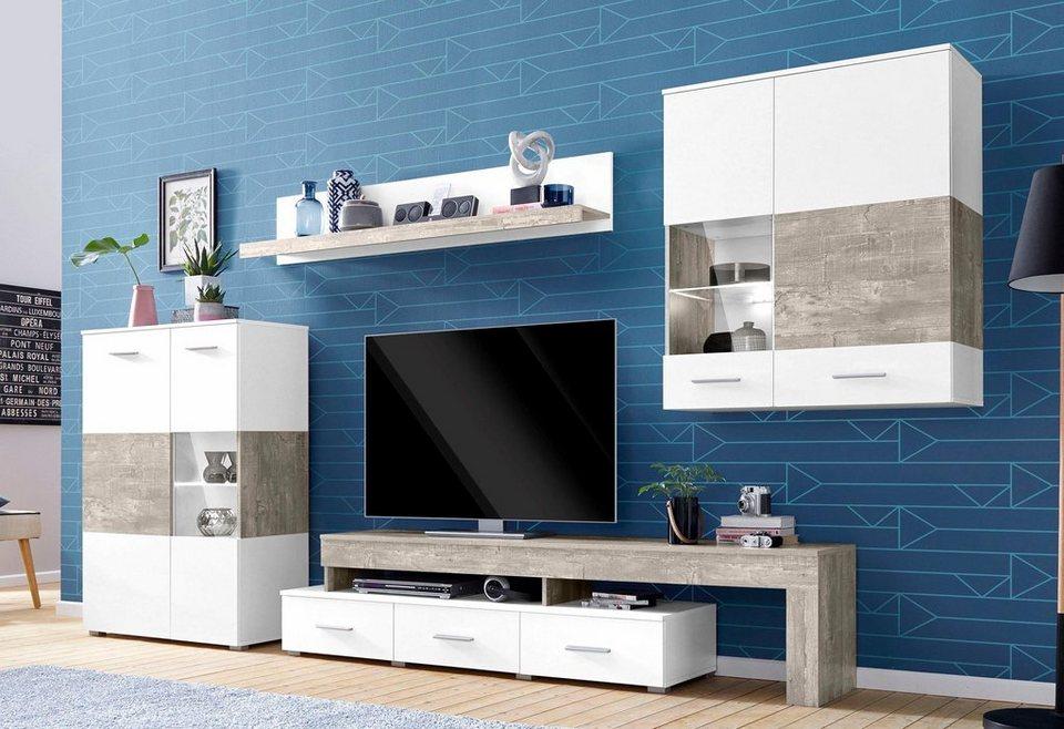 wohnwand 4 tlg wohnwand 4 tlg breite ca 300 cm online kaufen otto. Black Bedroom Furniture Sets. Home Design Ideas