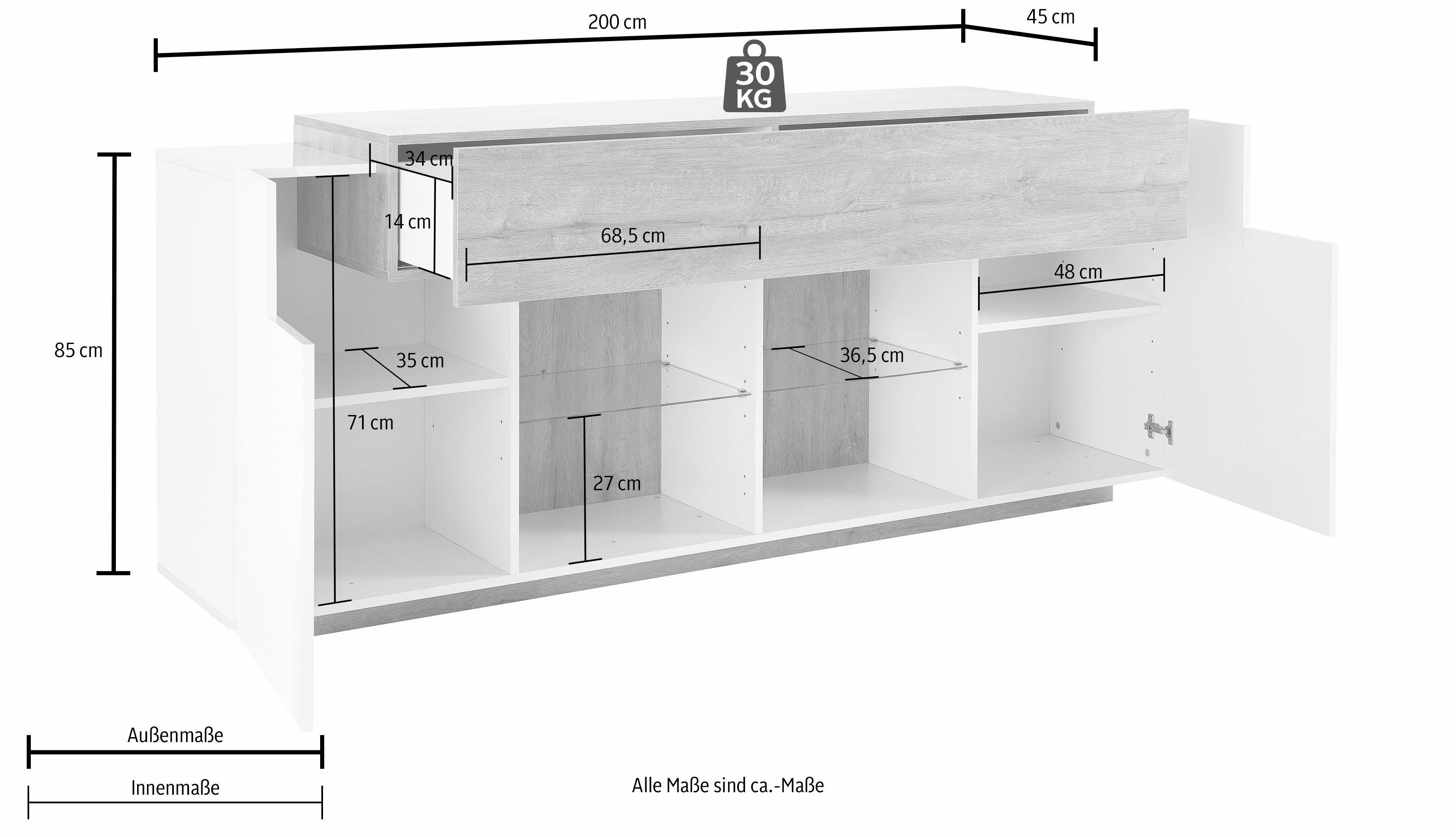 weiss hochglanz lackiert lackiert sideboards online kaufen m bel suchmaschine. Black Bedroom Furniture Sets. Home Design Ideas
