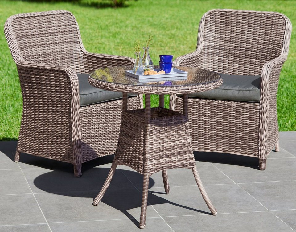 gartenm belset korsika 5 tlg 2 sessel tisch 70 cm polyrattan natur online kaufen otto. Black Bedroom Furniture Sets. Home Design Ideas