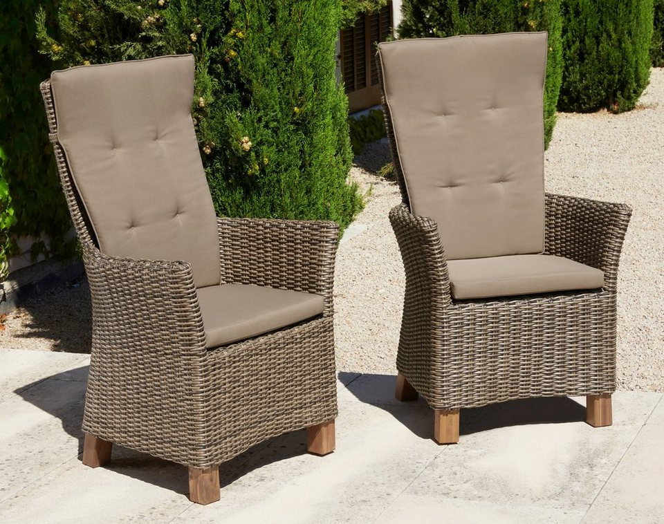 gartenstuhl toskana 2er set polyrattan akazie natur inkl auflage online kaufen otto. Black Bedroom Furniture Sets. Home Design Ideas