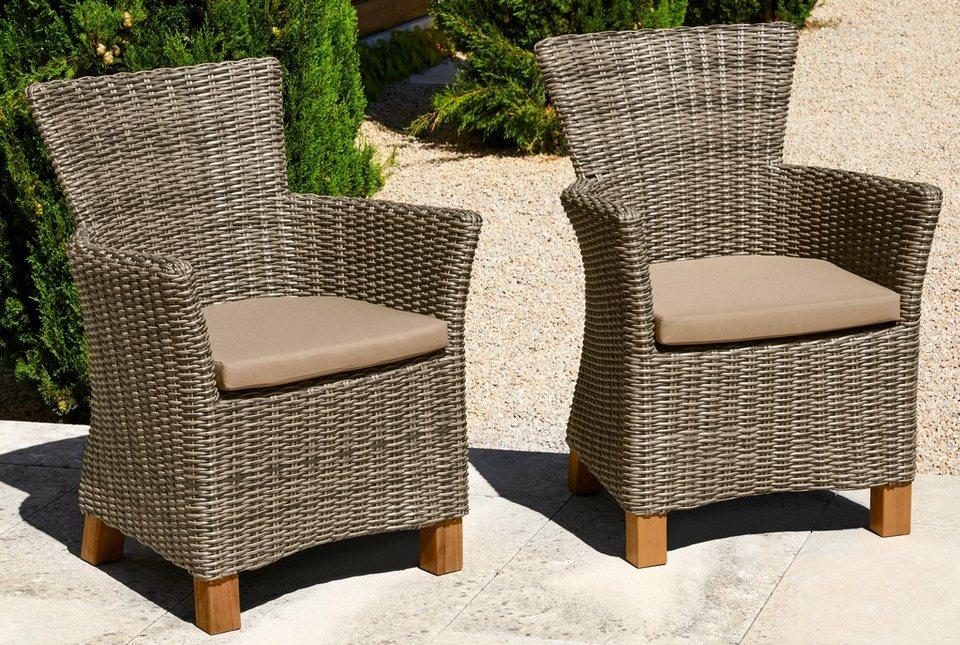 gartensessel toskana 2er set polyrattan akazienholz. Black Bedroom Furniture Sets. Home Design Ideas