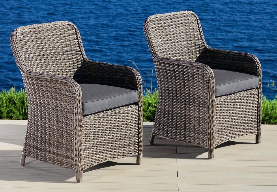 gartenstuhl korsika 2er set polyrattan braun inkl sitzkissen online kaufen otto. Black Bedroom Furniture Sets. Home Design Ideas