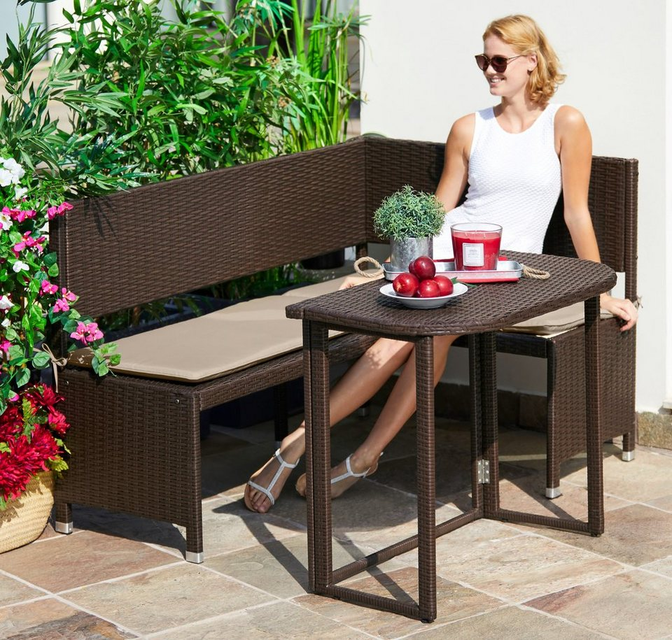 Gartenmöbelset »Rattan«, 4 Tlg., Eckbank, Tisch 90x50 Cm,