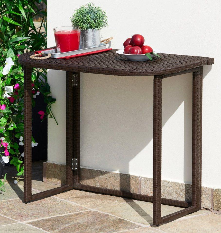 Merxx Gartentisch Rattan Polyrattan Klappbar 90x50 Cm Braun