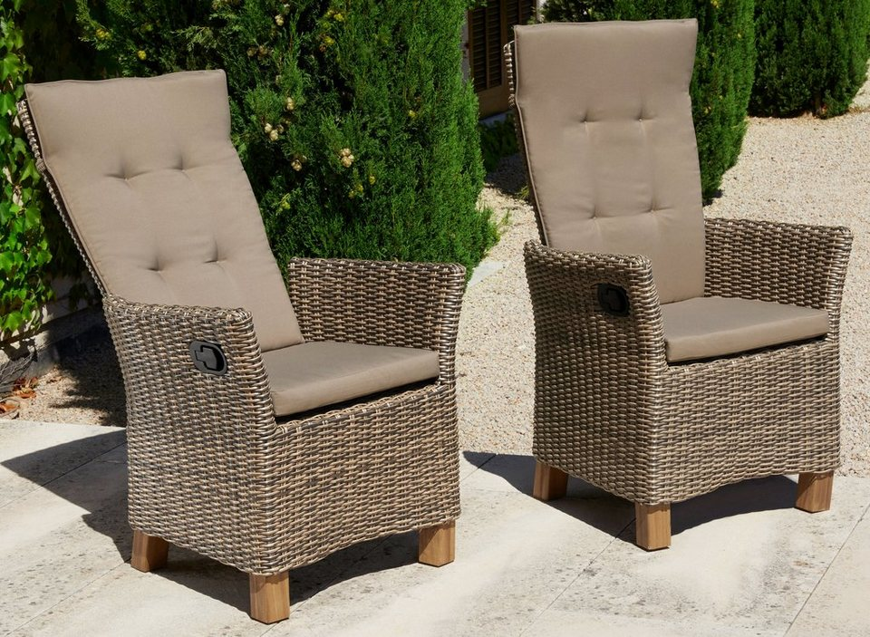 gartenstuhl toskana 2er set polyrattan verstellbar inkl auflagen natur online kaufen. Black Bedroom Furniture Sets. Home Design Ideas