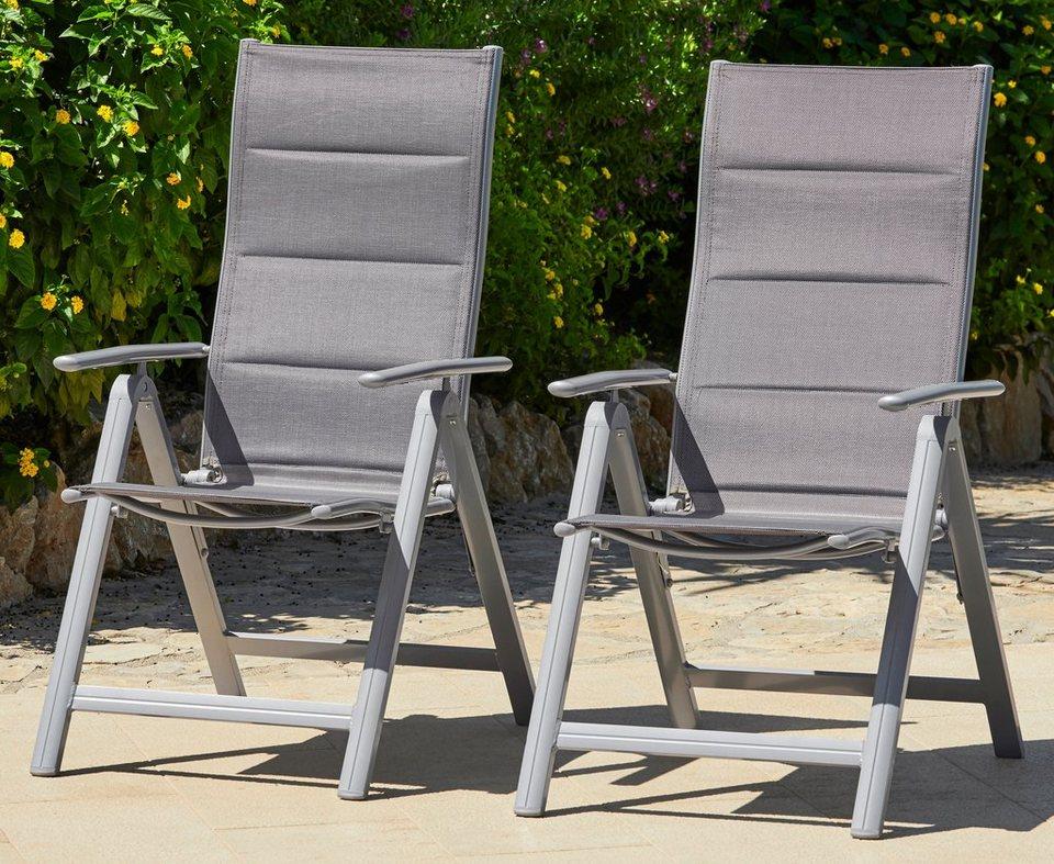 Merxx gartenstuhl taviano 2er set alu textil verstellbar silber online kaufen otto - Merxx gartenstuhl ...