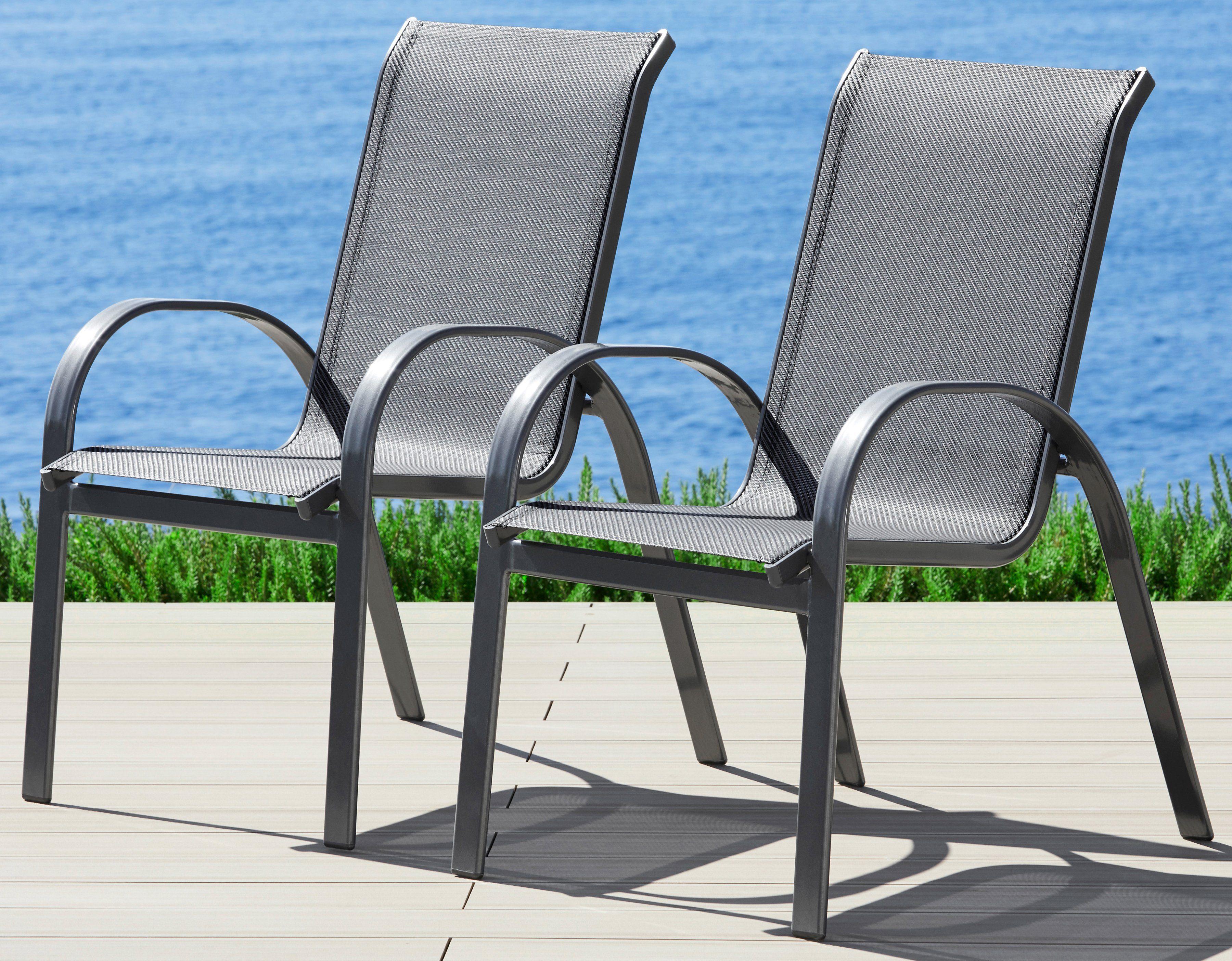 Gartenstuhl »Amalfi«, 2er Set, Alu/Textiles Gewebe, stapelbar