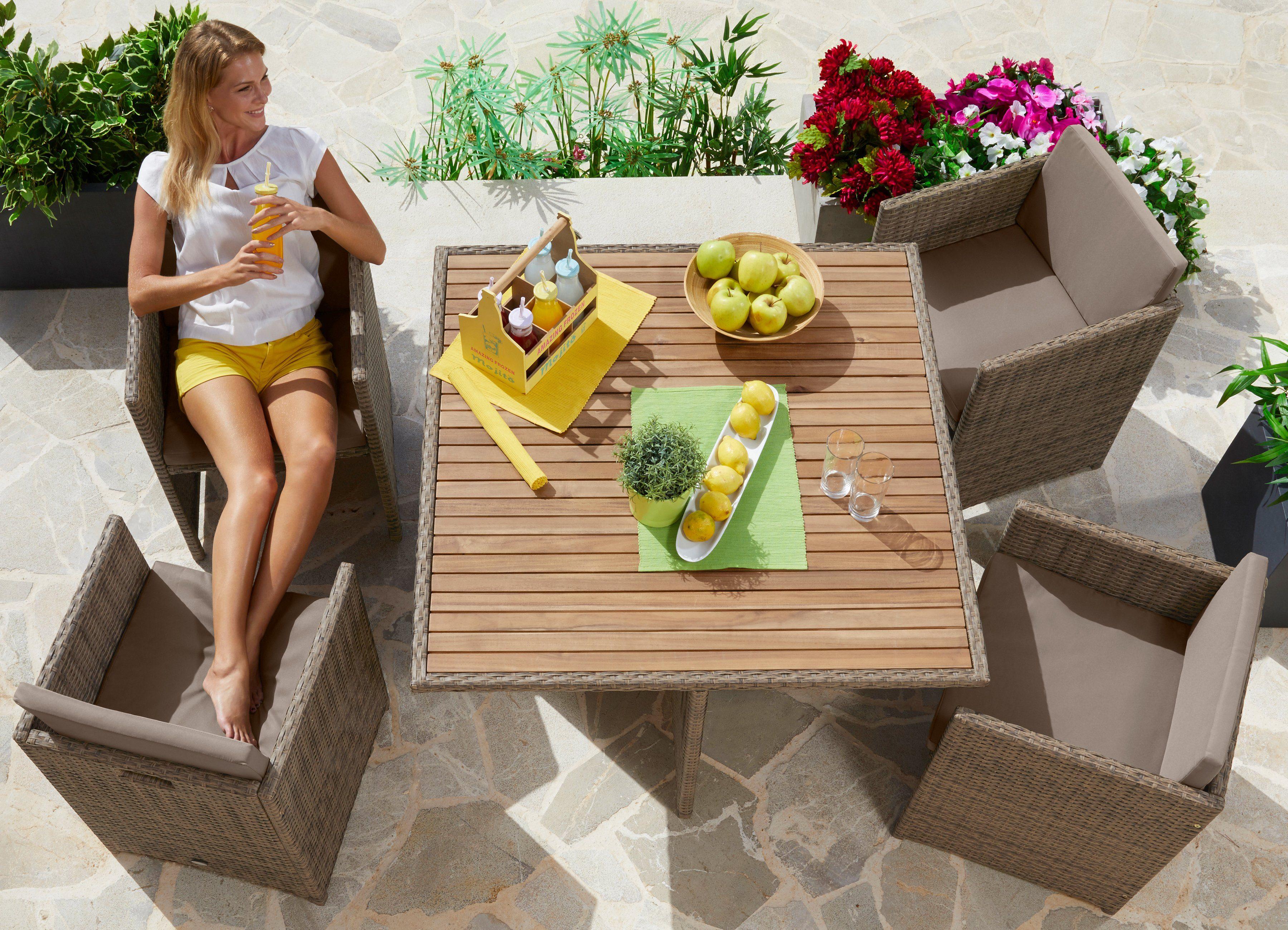 Gartenmöbelset »Verona Wicker«, 9-tlg., 4 Sessel, Tisch 110x110, Polyrattan/Akazie