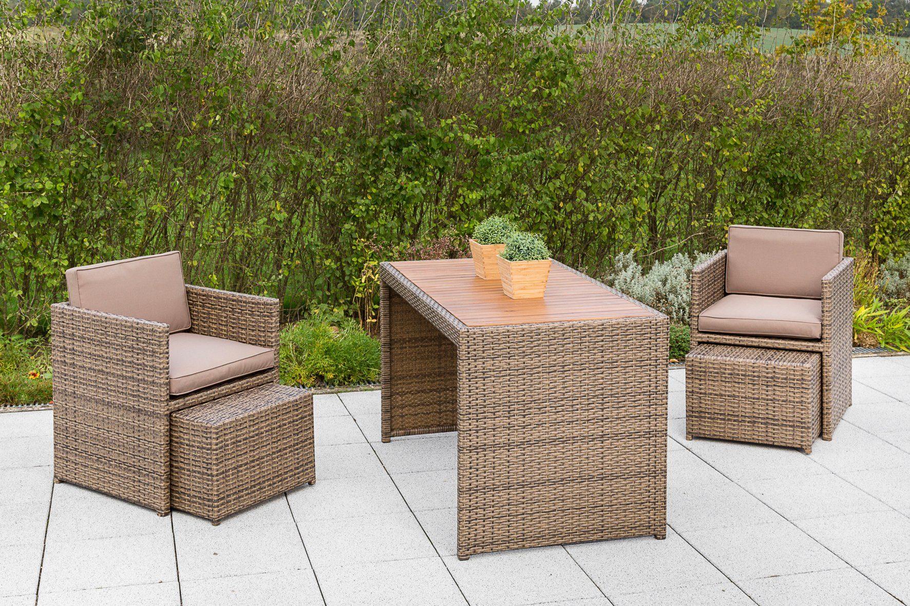 Gartenmöbelset »Merano Wicker«, 9-tlg., 2 Sessel, 2 Hocker, Tisch 69x127 cm, Polyrattan