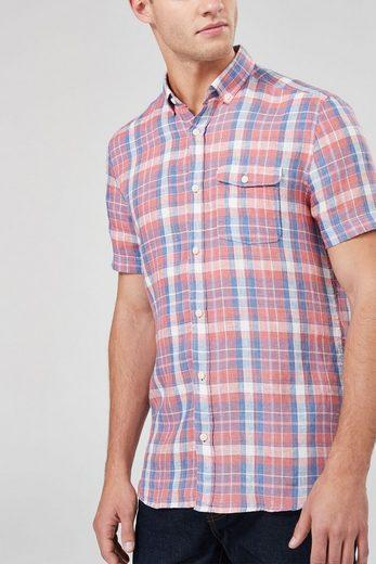 Next Kurzärmeliges kariertes Hemd aus einer Leinenmischung