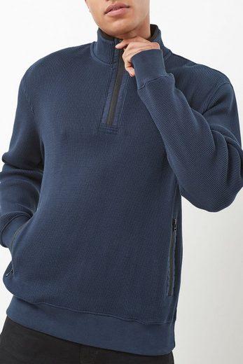 Next Strukturierter Pullover mit RV-Kragen