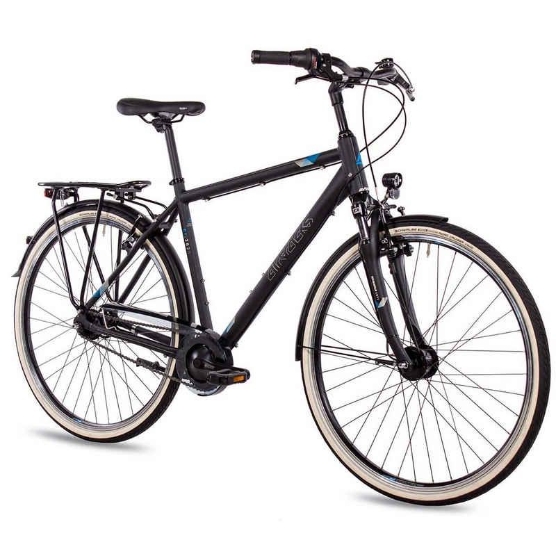 Airtracks Cityrad »Herren City Fahrrad 28 Zoll Cityrad CI.2820«, 7 Gang SHIMANO NEXUS Schaltwerk, Nabenschaltung, Schwarz Matt - Rahmenhöhen 52cm & 56cm » Modeljahr 2021 «