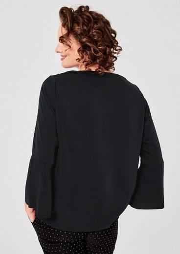 TRIANGLE Seidige Bluse mit Volantärmeln