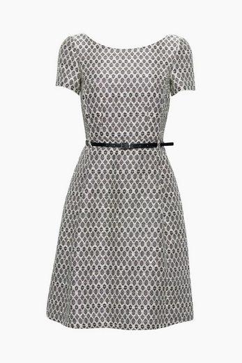 ESPRIT COLLECTION Jacquard-Kleid mit Gürtel in Leder-Optik