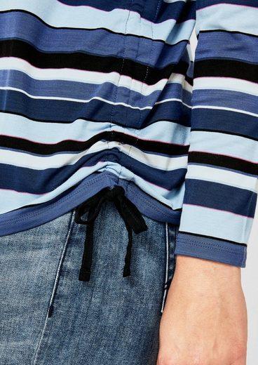 TRIANGLE Streifenshirt mit Schnür-Detail