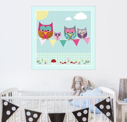 Posterlounge Wandbild - GreenNest »Süße Eulen Familie«