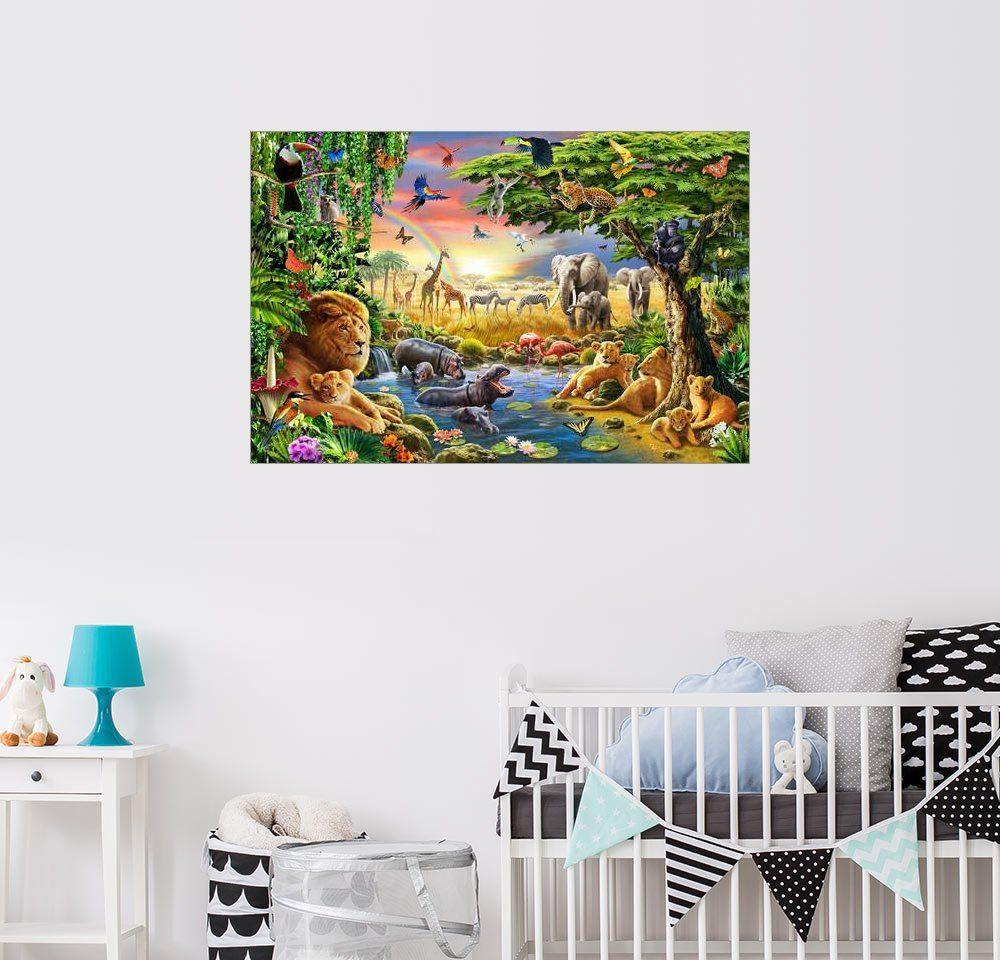 Posterlounge Wandbild - Adrian Chesterman »Das Treffen am Wasserloch«