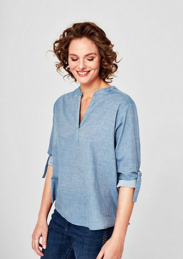 Triangle-chambray Tunic With Sleeveless Tie