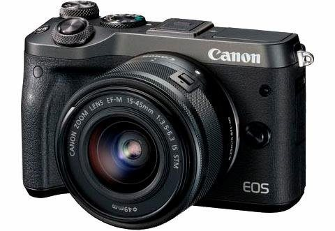 Systemkameras - Canon »EOS M6 EF M« Systemkamera (EF M 15 45mm 1 3,5 6,3 IS STM, 24,2 MP, Bluetooth, WLAN (Wi Fi), NFC, Videoaufnahmen in Full HD 1080p)  - Onlineshop OTTO