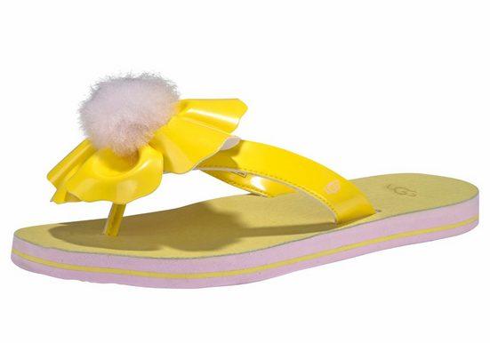 UGG »Poppy« Zehentrenner mit dekorativer Blüte und Fellbommel