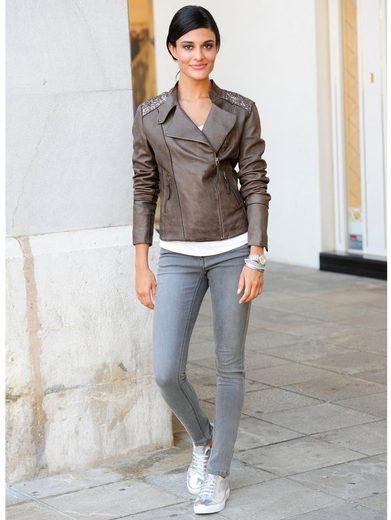 Alba Moda Lederjacke mit Pailetten- und Perlenstickerei