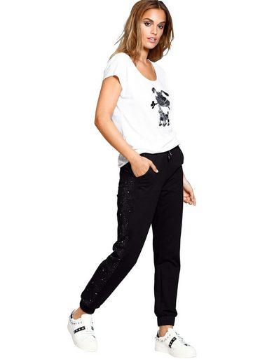 Alba Moda Joggpants mit Schmucksteinchen seitlich am Bein