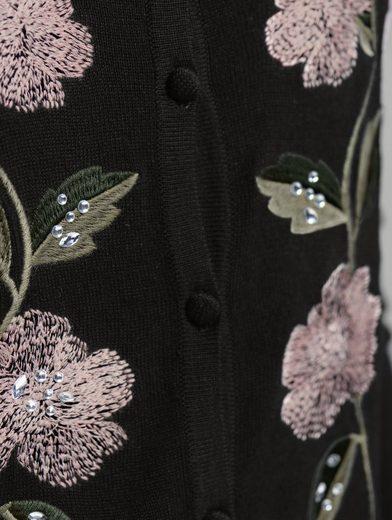 Alba Moda Strickjacke mit handbestickten Blumenmotiven