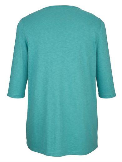 MIAMODA Longshirt mit Kordeln zum Binden am Ausschnitt