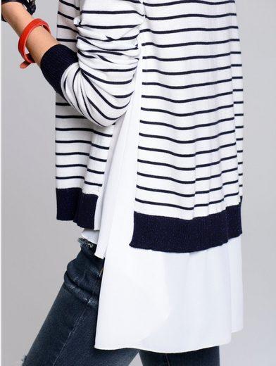 Alba Moda Pullover im maritimen Streifendessin allover