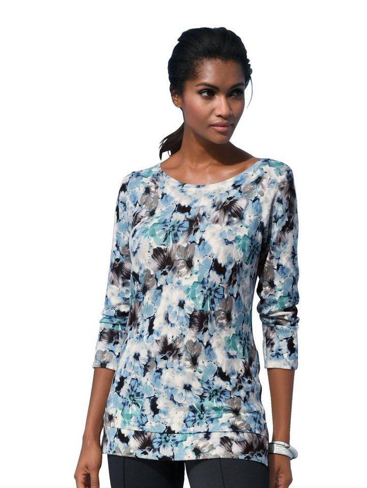 Damen Alba Moda Pullover mit ALBA MODA exklusivem Blumendruck blau | 04055716206471
