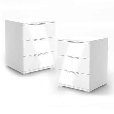 Vicco Nachtschrank »2x Kommode Nachttisch Schublade Schlafzimmer Weiß Hochglanz«