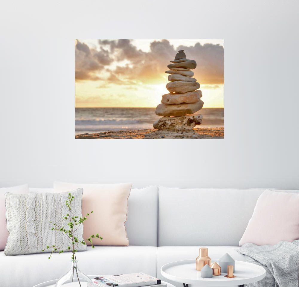 Posterlounge Wandbild »Steinpyramide im Abendlicht«