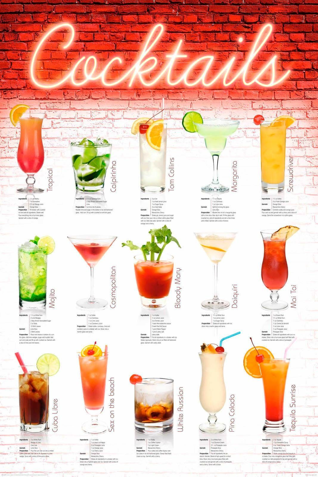 Deco Panel »Cocktails - englisch« 60/90 cm