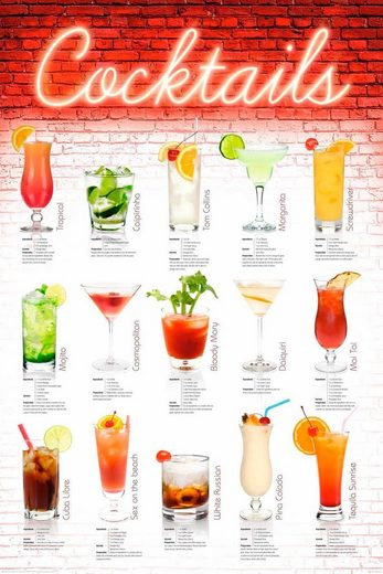Deco-Panel »Cocktails - englisch«, 60/90 cm