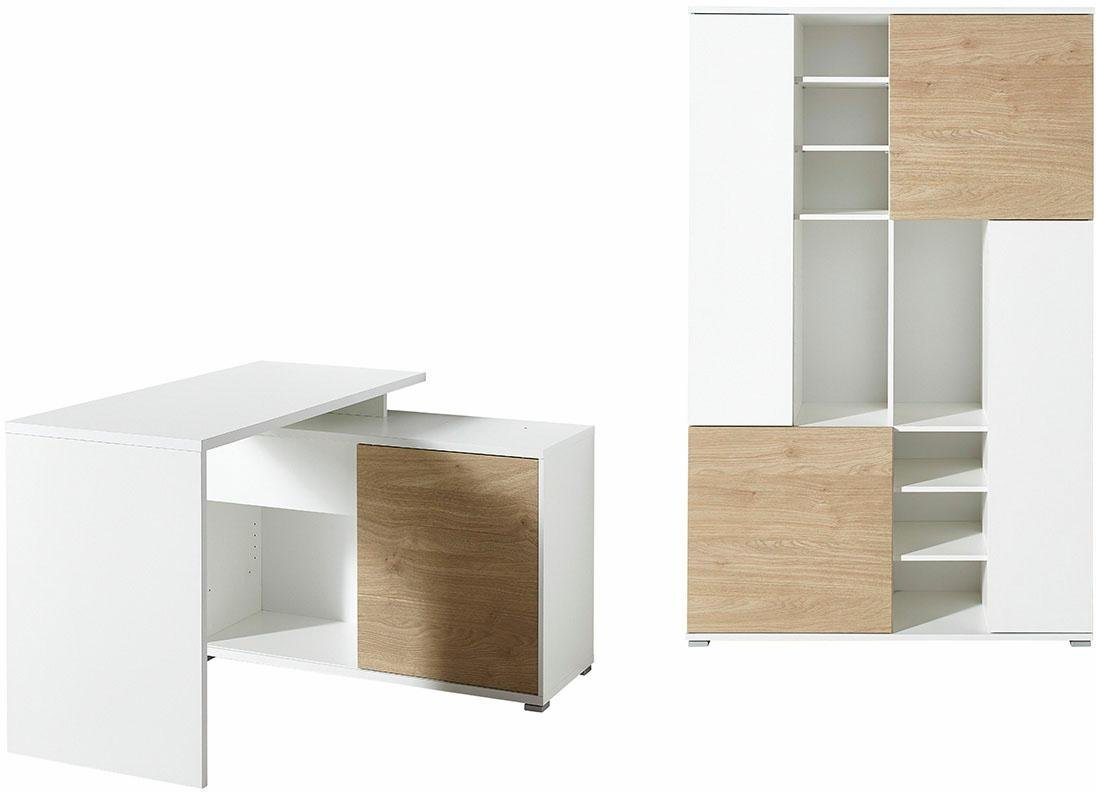 Germania Büromöbel-Set GW-Paseo (2-tlg.) | Büro > Büromöbel-Serien | Weiß | Eiche - Mdf - Holzwerkstoff | GERMANIA