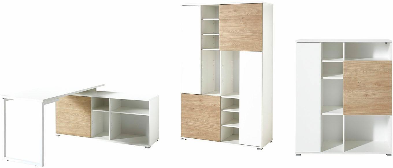 Germania Büro-Set GW-Paseo (3-tlg.) | Büro > Büromöbel-Serien | Weiß - Glanz | Eiche - Mdf - Melamin | GERMANIA
