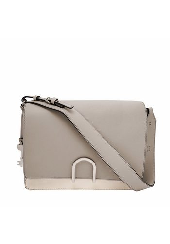 Damen Fossil Schultertasche FINLEY SHOULDER BAG, aus Leder mit colour blocking grau   04053858980051