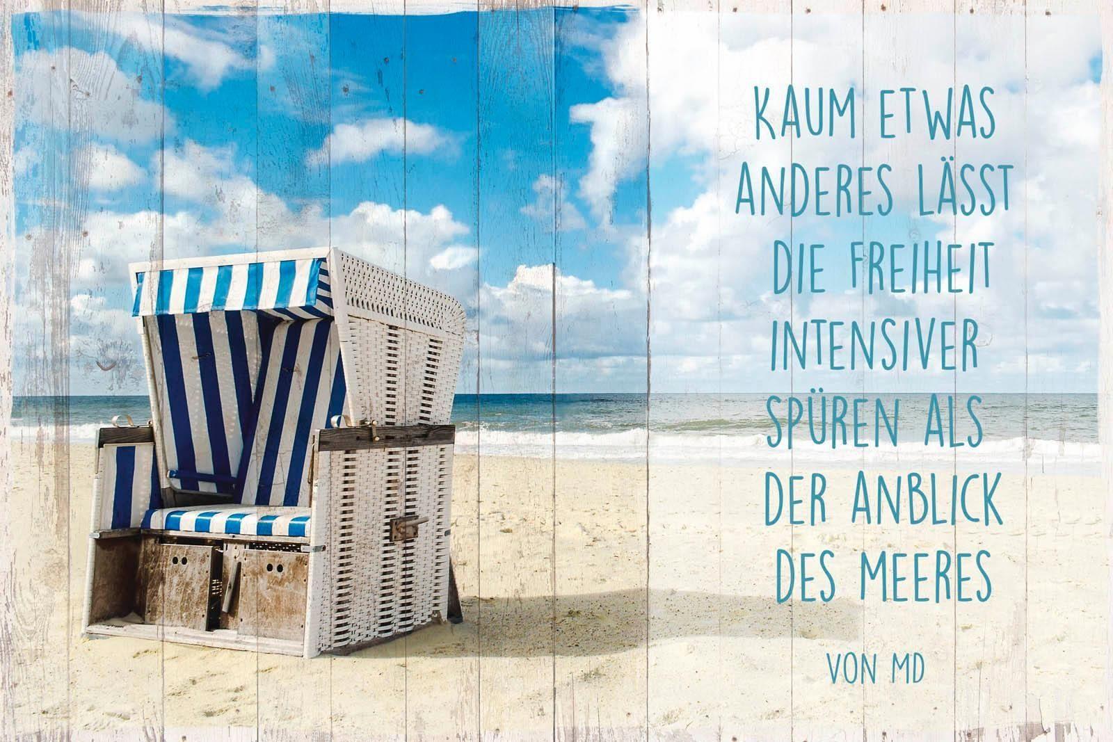 Deco-Panel »Freiheit am Strand«, Strand, Schriftzug, 90/60 cm